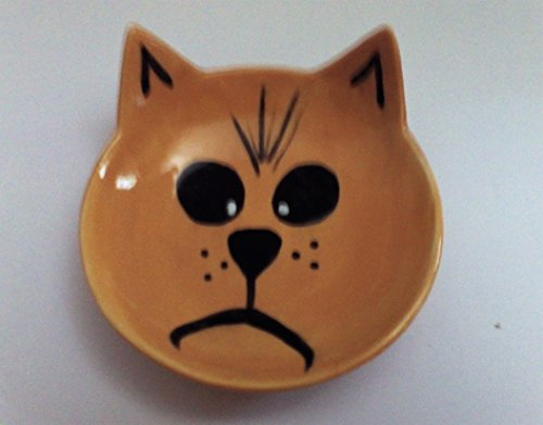A happy cat water or feeding bowl in brown by Ceramics Created 4 You