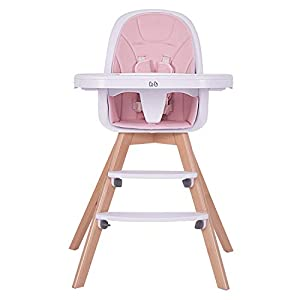 Baby High Chair, Wooden High Chair with Removable Tray and Adjustable Legs for Baby/Infants/Toddlers, Pink