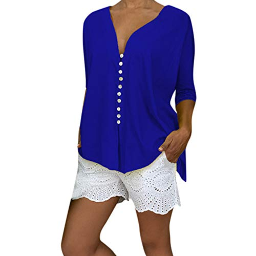 TIFENNY Plus Size Loose Tops for Women Fashion Summer Deep V Neck Solid Long Sleeve Buttoned Blouse Shirt Top Blue