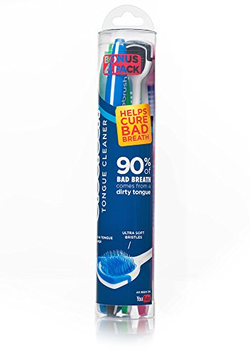 Orabrush Tongue Cleaner, Helps Cure Bad Breath, Bonus Pack- 4 Tongue Cleaners Included-Colors May Vary from Orabrush
