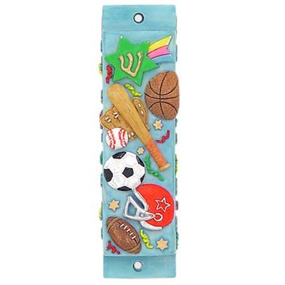Blue Clay Sports Mezuzah Cases with Basketball Baseball Soccer Football Design - Parchment Included Alef Judaica MEZ508P