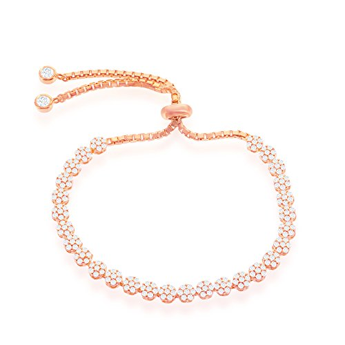 Italian Sterling Silver 14k Rose Gold overlay Sparkly Cubic Zirconia Flower Adjustable Bolo Friendship Bracelet - 14k Gold Overlay Accent