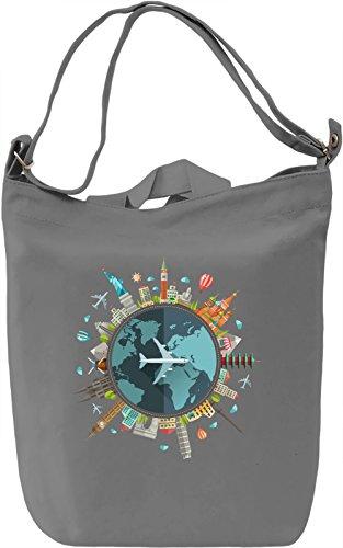 Around the world Borsa Giornaliera Canvas Canvas Day Bag  100% Premium Cotton Canvas  DTG Printing 
