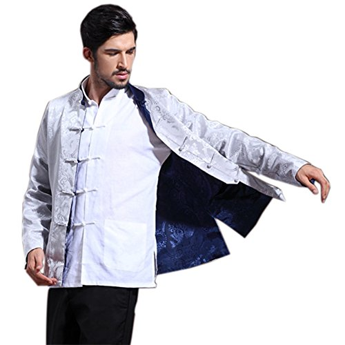 Mens Chinese Kung Fu Long Sleeve Silk Tang Jacket Double Sided Silver Blue Size XXXL by Master J