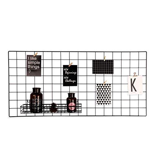 Pulatree Grid Photo Wall, Wire Wall Grid Panel for Photo Hanging Display Metal Grid Wall Decor Organizer Mesh Panels Display Wall Storage 37.4 x 17.7 inch - Black Black Wire Grid Panel