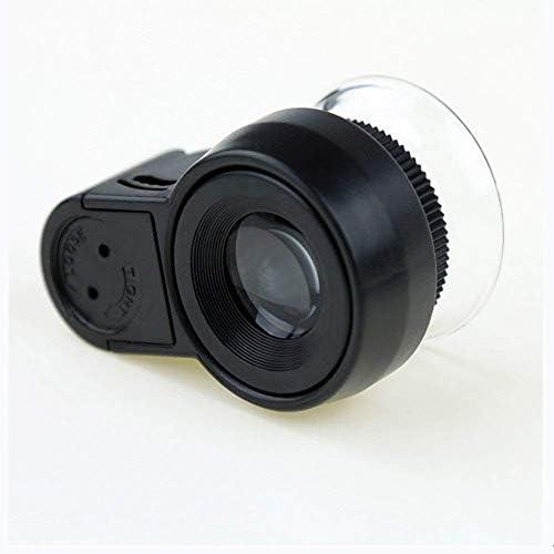 ZY-YY 検査コインジュエリーアンティーク書道識別のためのLEDライト付きミニ宝石ルーペ45X高倍率ハンドヘルドポータブル照光顕微鏡拡大鏡、