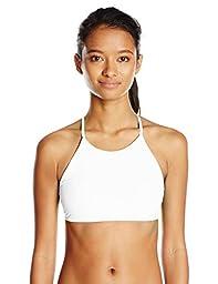 Body Glove Women\'s Smoothies Elena High Neck Halter Swimsuit Bikini Top, White, L