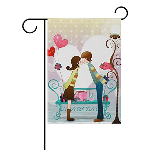Decorative Flags for Outside Double Sided Welcome Garden Flag with Novelty Graphic Kiss Cartoon Valentine Day for Yard Flags Outdoor Flags