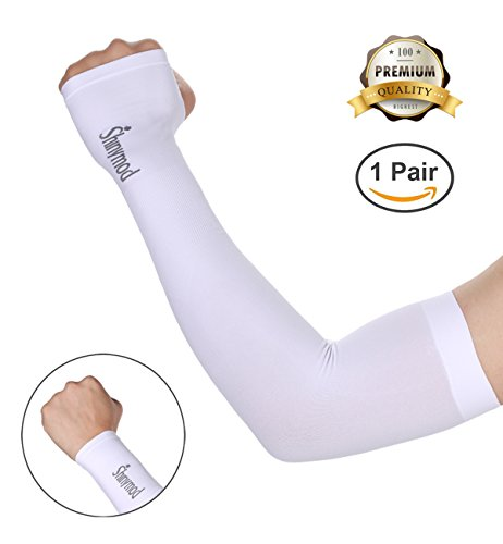 Ladies Golf Apparel Accessories - SHINYMOD UV Protection Cooling Arm Sleeves for Men Women Sunblock Cooler Protective Sports Gloves Running Golf Cycling Basketball Driving Fishing Pairs Long Arm Cover Sleeves (1 Pair White)