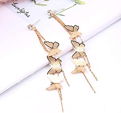Damen Elegant Schmetterling Lang Quaste Kette Ohrringe Mode Geschenke Neu e Neu