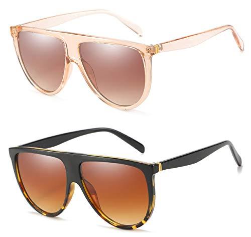 Oversized Sunglasses for Women Men Flat Top Square Frame Fashion Sunnies(Black Leopard+Transparent Pink ()