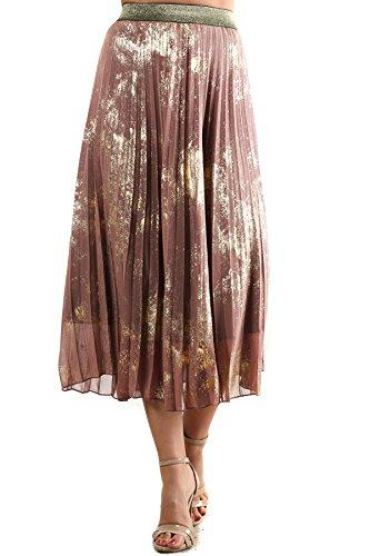 Marylou - Taupe Foil Splash Print Elastic Waistband Pleated Midi Skirt (Splash Print Skirt)