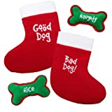 Kyjen Plush Puppies Holiday Dual Side Stocking Squeaker and Bone Combo, My Pet Supplies