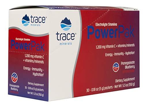 Trace Minerals Electrolyte Stamina Power Pak Non-GMO, Pom-Blueberry, 30 Count. Vitamin C. Magnesium. Potassium. Sodium. Hydration