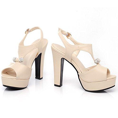 Mujer Sandalias Mujer Tacón en Bloque Zapatos peep toe Hebilla Moda Fiesta NUEVO