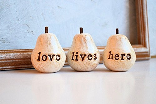 Rustic white love lives here pears... Three handmade polymer clay pears ... great fall gift idea (Fall Pear)