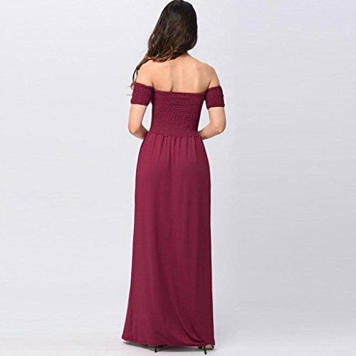 Party lunghe abito party Holiday Womens pieghe Principessa Abito Rosso Abito a Shoulder Abito Sexy Mini lungo Beach Vestito Gonna 2018 Trada Summer Evening elegante da Off 7Td0q0