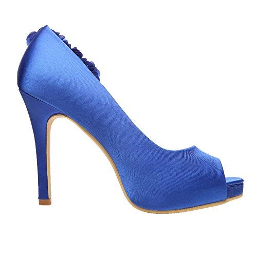 outlet huge surprise M MULGARIA Women High Heel Pumps Platform Peep Toe Flowers Satin Evening Prom Wedding Shoes Royal Blue sale best sale cheap sale fast delivery Q4SLUPK