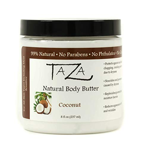 Premium Taza Natural Coconut Body Butter, 8 fl oz (237 ml) ♦ Gives You Intense Hydration For Glowing Skin ♦ Contains: Shea Butter, Coconut Oil, Grapeseed Oil, Sweet Almond Oil, Cocoa Butter (Best Natural Body Butter)