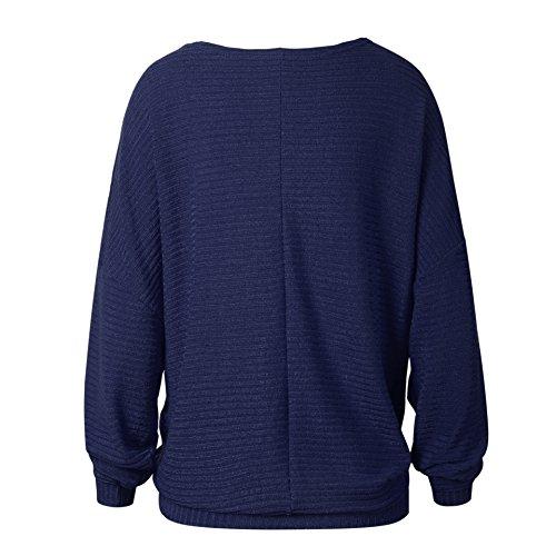 Sciolto Manica Casual Top Maglieria Donna Inverno Bluse Eleganti shirt Magliette Blu Lunga Maglioni Sweater Colore T Maglia Puro Autunno Pipistrello wqXWE6OO