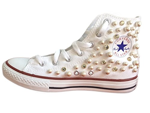 Converse All star Bead mix between small and large, rhinestones Bianco