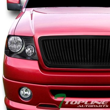 - Topline Autopart Black Head Lights Headlights Headlamps Turn Signal Parking Lamps Amber Dy + Vertical Front Hood Bumper Grill Grille For 04-08 2004-2008 Ford F150