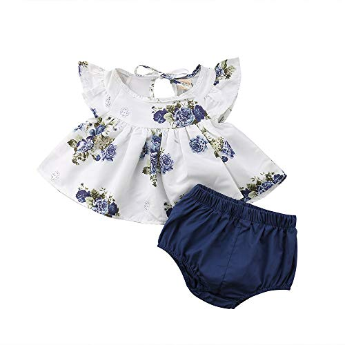 (Mysky Fashion Newborn Baby Girl Summer Cute Floral Ruffle Sleeve Tee Shirt Dress Tops+Pure Color Shorts Outfit Set White)