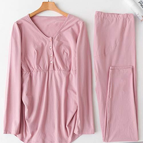 Una Algodón Rosa De Mujeres Homedressing Traje Oscuro Color Pieza Lactancia Ropa Pijamas Embarazadas Regalo Dark Dormir Invierno Pink Embarazo x0EZSwStq