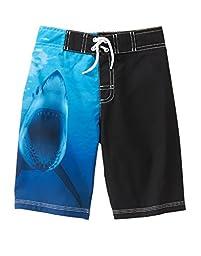 Gymboree Big Boys\' Printed Swim Trunks, Sharks Multi, M