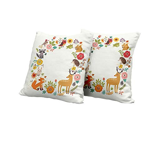 All of better Wheelchair Cushion Cover Forest,European Forest Fauna and Flora with Deer Fox Raccoon and Roses Cartoon Wildlife,Multicolor Pillow Covers 20x20 INCH 2pcs ()
