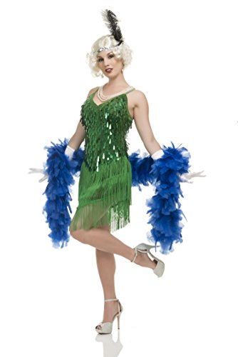 Charades Women's 1920's Sequin and Fringe Flapper Costume Dress, Green, X-Small