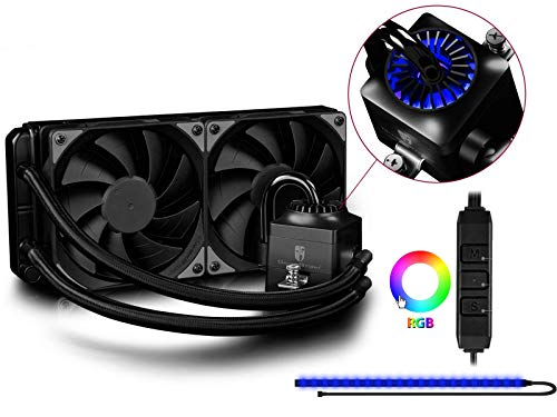 DEEPCOOL Captain 240EX RGB, Liquid CPU Cooler, SYNC RGB Waterblock and Strip Controlled by Wired Cable or Motherboard with 12V RGB 4-pin Header, 2×120mm PWM Fans, AM4 Compatible, 3-Year Warranty