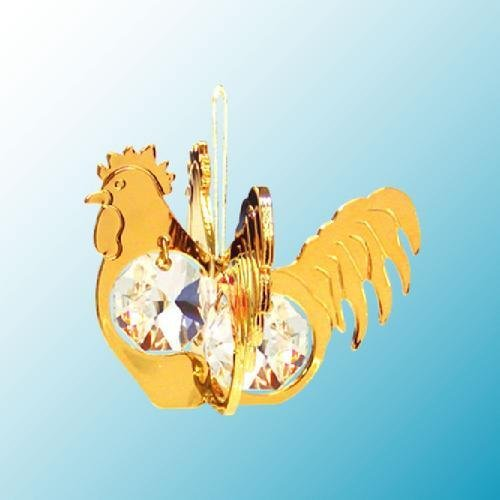 [24K Gold Plated Hanging Sun Catcher or Ornament..... Rooster with Clear Swarovski Austrian Crystal] (Animals That Begin With S)