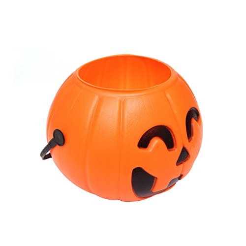 BESTOYARD 17cm Halloween Pumpkin Bucket Trick or Treat Pumpkin Candy Pail Holder Jar Mini Candy Goody Bag -