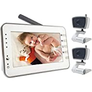 MoonyBaby 4.3 Inches Large LCD Video Baby Monitor Two Cameras Pack with VOX Mode, AUTO Night Vision & Temperature Monitoring, Two Way Talkback System (MANUALLY Rotated Camera)