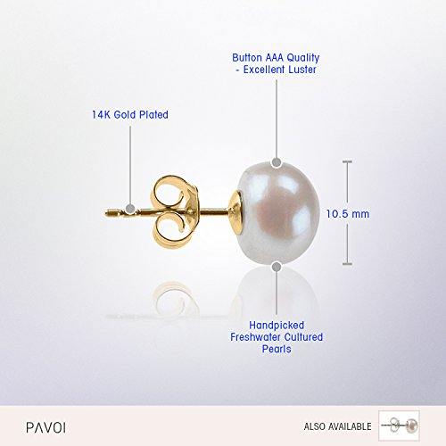 PAVOI Sterling Silver AAA Quality Handpicked Freshwater Cultured Stud Pearl Earrings