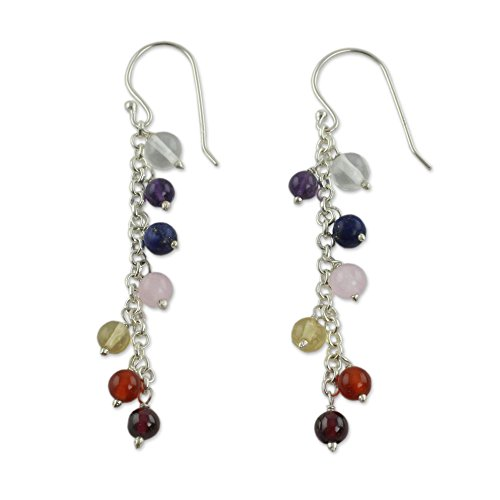 - NOVICA .925 Sterling Silver and Multi-Gemstone Chakra Dangle Earrings, Tranquility'
