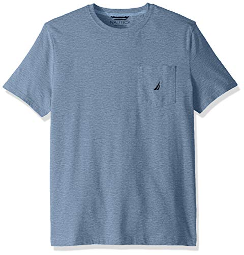 Nautica Men's Solid Crew Neck Short Sleeve Pocket T-Shirt, Deep Anchor Heather, Medium