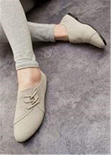 Flats Slip Casual Loafers Suede Rivets Soft Gray Shoes Light On Toe Store Classic Ballet SUNNY Women's Pointed wqtIOv7