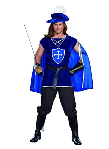 Musketeers Costume For Girls (Dreamgirl Men's Mighty Musketeer , Blue, Large)