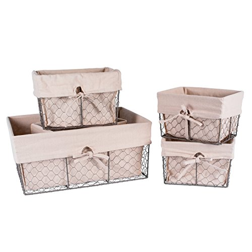DII Home Traditions Vintage Metal Chicken Wire Storage Basket with Removable Fabric Liner, Set of 5 Mixed Nesting Sizes, Natural -