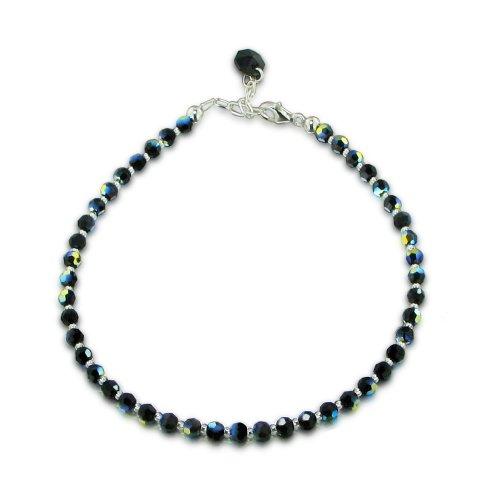 Schöner-SD, Fußkette aus SWAROVSKI ELEMENTS Kristall Perlen schwarz Jet AB und 925 Silber