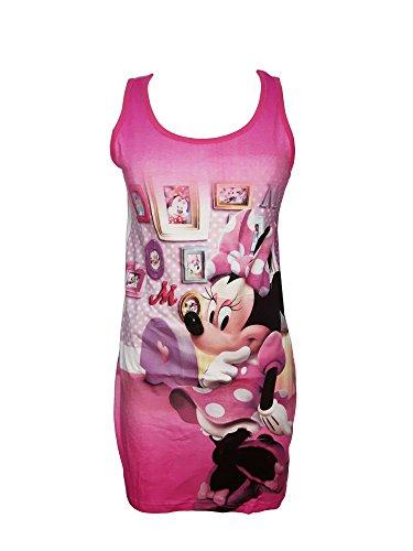 Notte m Topolina Minnie 96108 Spalla Art Disney Fuxia Cotone Da Larga Camici Donna TPfw55q