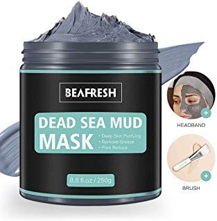 Face Mask Dead Sea Mud Mask, Facial Mask for Acne, Blackhead and Oily Skin Detox Treatment for Face & Body Cleansing Pore Minimizer Include Hairband & Brush Beauty for Women and Men
