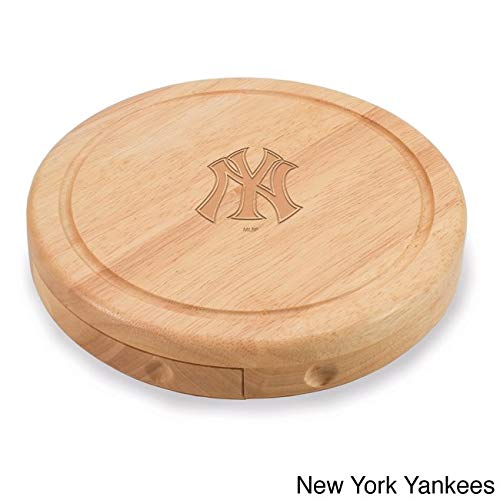 1 Piece MLB New York Yankees Brie Cheese Board Set Wooden, NY Team Logo Professional Baseball Themed Serving Tray, NYY Cutting Board Platter Round Natural Beige, Wood (Ny Yankees Diamond)