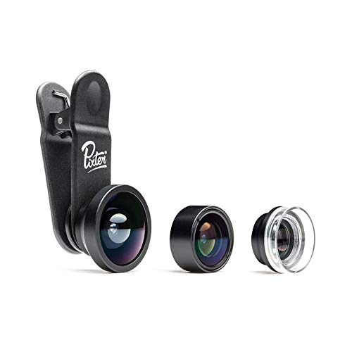 Pixter Starter Pack, Camera Lens Kit: Wide Angle + Macro + Fisheye / Compatible All Smartphones Androïd and iOS / iPhone 5, 6, 6S, 7, 7 Plus, 8, 8 Plus, X, XS / Samsung S6, S6 Edge, S7, S7 Edge, S8, S8 Plus, S9, S9 Plus / Huawei / Sony / Honor / OnePlus