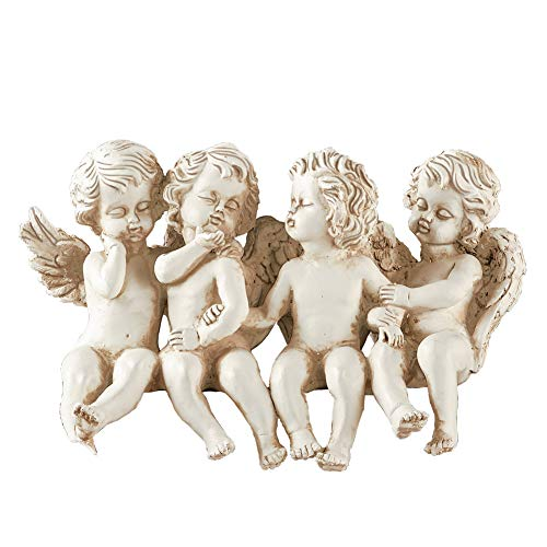 Collections Etc Antique Finished Cherub Sitters with Carved Detail - Spring Yard and Home Decorative Accent