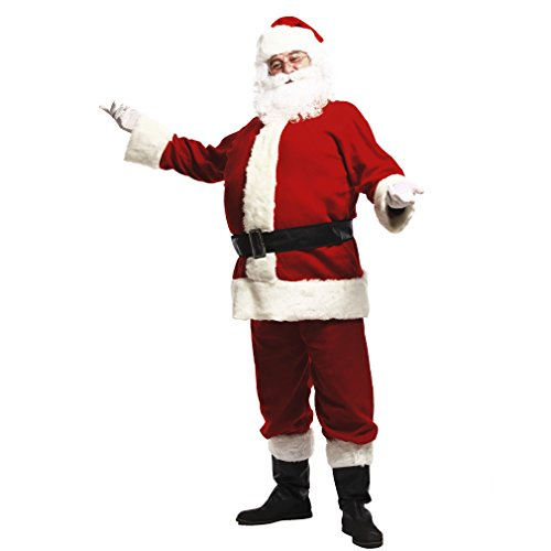 Plus Deluxe Santa Suit (Adults Deluxe Santa Suit Men's Christmas Holiday Santa Claus Costume)