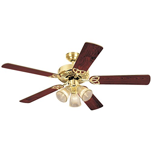 (Westinghouse Lighting78043 Vintage Three-Light 52-Inch Five Blade Ceiling Fan, Polished Brass with Frosted Ribbed Shades)