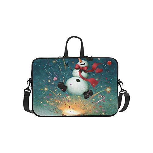 (Holiday Greeting Card Cheerful Snowman Briefcase Laptop Bag Messenger Shoulder Work Bag Crossbody Handbag for Business)